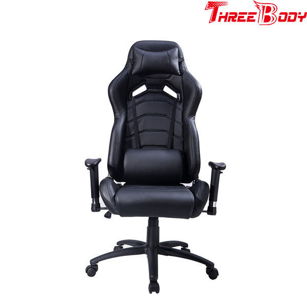 Leather Executive Racing Office Chair , Black Racing Style Office Chair