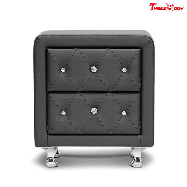 Crystal Tufted Upholstered Contemporary Bedroom Furniture Faux Leather OdernNightstand